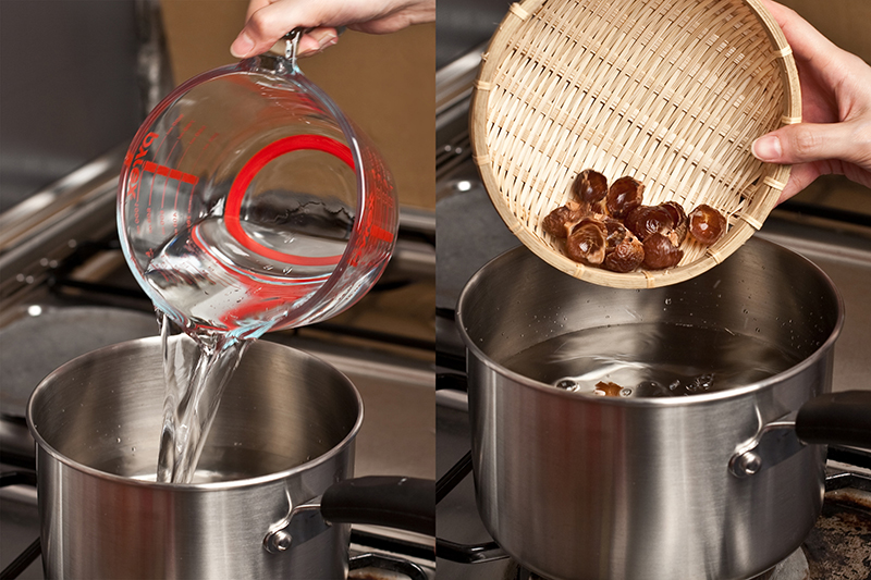 add soap nuts to the pot of water